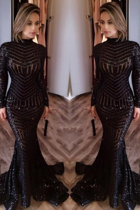 Robe de soiree High Neck Long Sleeves Mermaid Black Prom Dresses 2017 Sequined Evening Dresses Long Party Gown