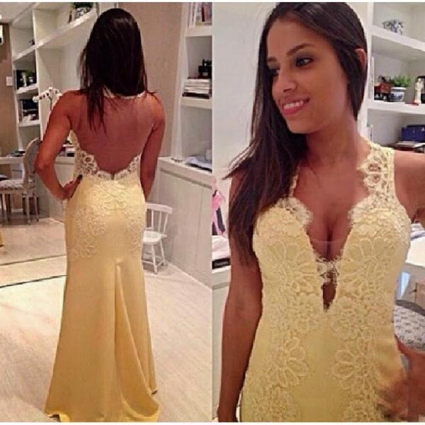 New Yellow Fitted China Prom Dresses Illusion Imported Party Dress Satin Evening Gowns Mermaid Robe De Bal