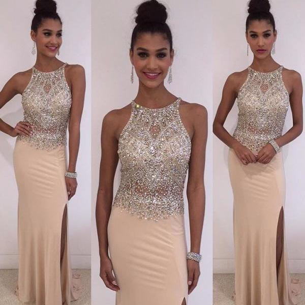 Champagne Mermaid Prom Dress Sexy Sheer Split Beading Satin Formal Evening Gowns Vestidos De Formatura
