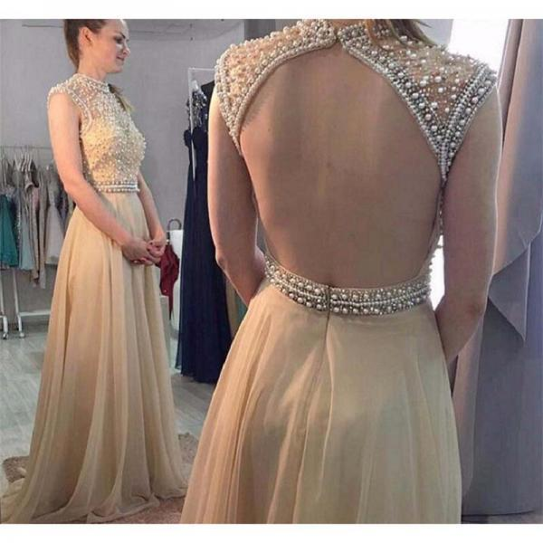 Backless Champagne Beaded Prom Dresses Long From China Imported Party Dress A-Line Chiffon Vestido De Festa Evening Gowns