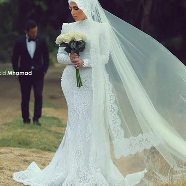 Muslim Lace Appliques Wedding Dresses Vintage Vestido de Novia with Long Sleeves Sash Sexy Robe De Mariage