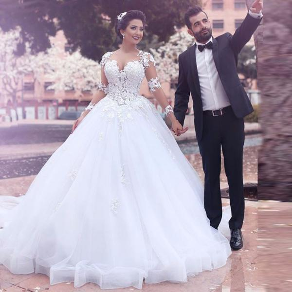 Saudi Arabia New Long Sleeves Lace Vintage Wedding Dress Vestido De Novia Ball Gown Plus Size Bridal Gown