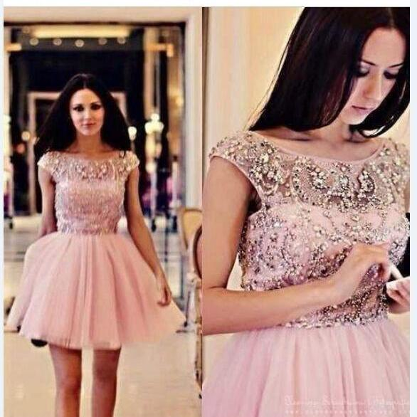 Pink Homecoming Dresses Short Ball Gown Tulle Scoop Short Graduation Party Dress Beaded cocktail dress
