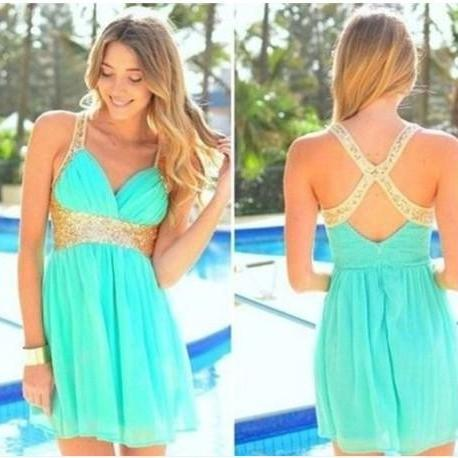 Homeoming Dress Graduation Dresses Gold Criss Cross Sequin Prom party Dress Mint Green Short Grad Dress