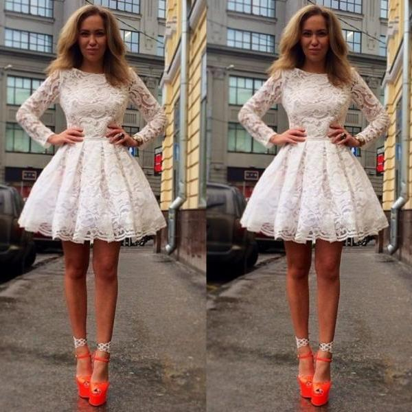 Elegant Lace Long Sleeve Homecoming Dress White Short MINI graduation Dress Sexy Applique Prom Party Gown Formal Dress