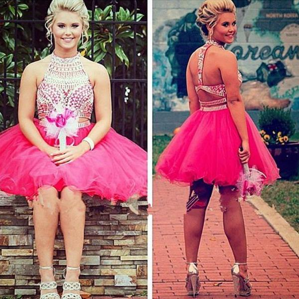 Pink 2 Piece Homecoming Dresses Short Sleeveless Silver Beading Cocktail Party Dress