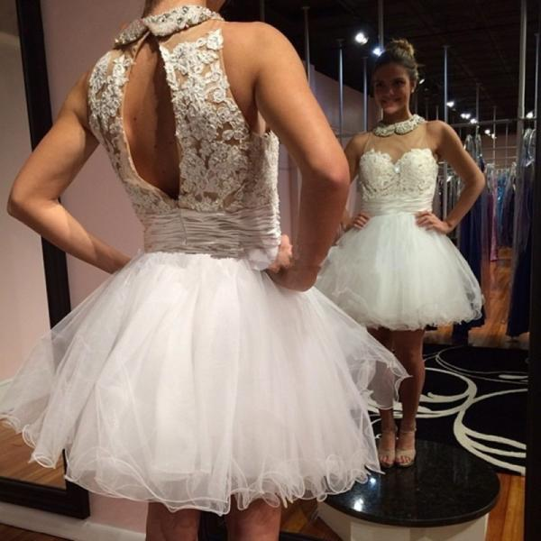 White Homecoming Dresses Sleeveless Lace Open Back Short Mini Tulle Prom Gowns Cocktail Party Dress