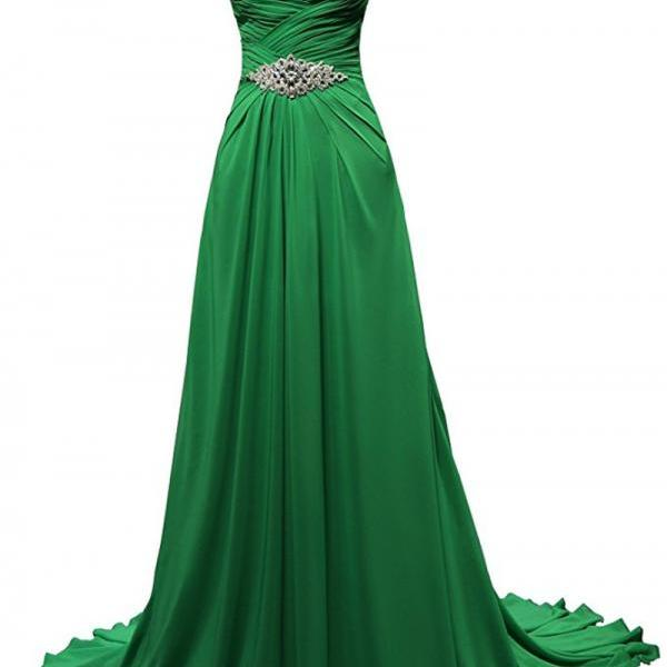 Long Evening Dresses Abito Lungo Cerimonia Donna Green Chiffon Beaded Cheap A Line Prom Dress