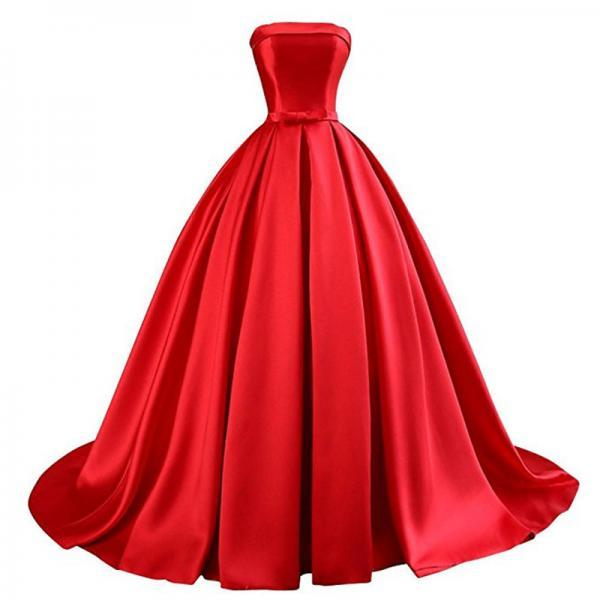 Dress Long Party Vestidos Do Baile De Finalistas Strapless Red Ball Gown Prom Dress Formal Evening Gowns Dresses