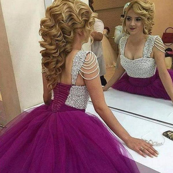 latest style ball gown prom dress purple pearls princess sweetheart prom dresses pleated long puffy prom gowns custom made