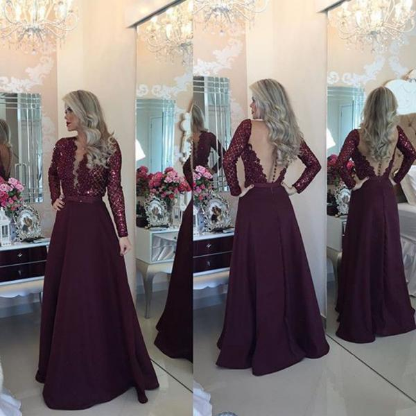 Enchanting Long Sleeve Prom Dresses V-Neck Sheer Back Lace Evening Party Dress A-Line Vestido De Festa Cheap Long Prom Dresses