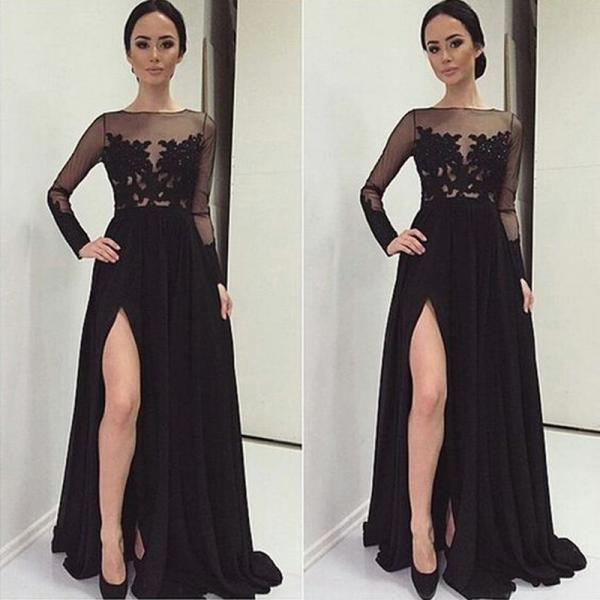 New Arrival Vestido De Festa Boat Neck Black A-Line Long Evening Dress Customerized Party Decent Prom Dresses
