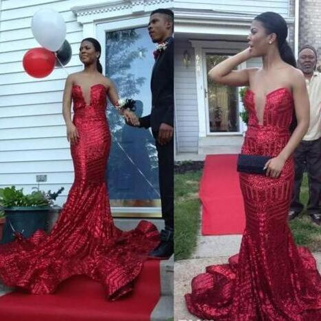 Sexy Sparkly Long Red Mermaid Sequined Prom Dresses 2018 For African Black Girl Strapless Backless Court Train Celebrity Evening Party Dress