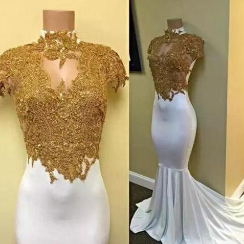 New White with Gold Appliqued Mermaid Prom Dresses High Collar Keyhole Neck Cap Sleeves Occasion Celebrity Evening Gowns Custom Made