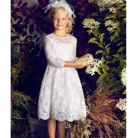 Cute Long Sleeve Lace Flower Girls Dresses for Wedding Party 2018 Jewel Neck Knee Length Ivory Tulle First Communion Dresses For Girls