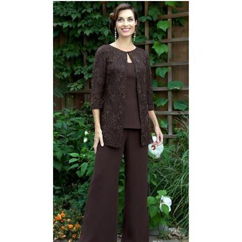 Cheap Lace Plus Size Mother of the Bride Pants Suits Sexy Long Sleeve Brown Chiffon Custom Made Formal Evening Dresses