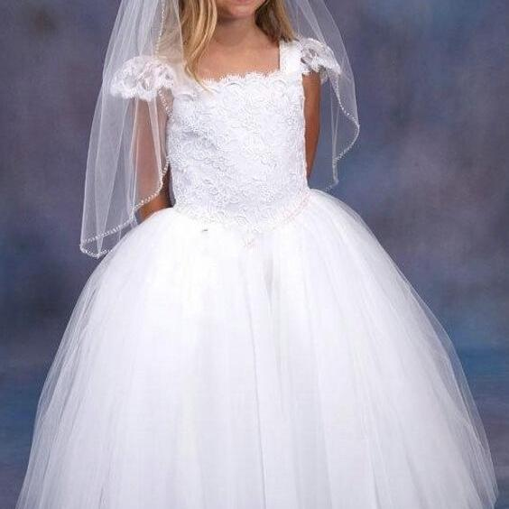 Cute Long White Lace Ball Gown Flower Girl Dresses Cap Sleeve Cheap Floor Length Tulle Pageant Party Gowns