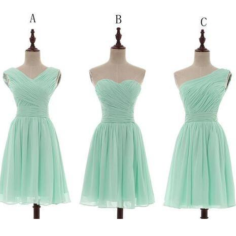 Cheap Bridesmaid Dress Mint Green Chiffon Pleated One Shoulder Short Knee Length Weddings Maid of Honor Gown