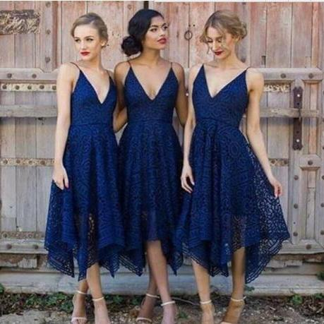 New Style Royal Blue Lace Bridesmaid Dress 2018 V Neck Backless Tea Length Maid of Honor Country Bridemaids Wedding Guest Gowns