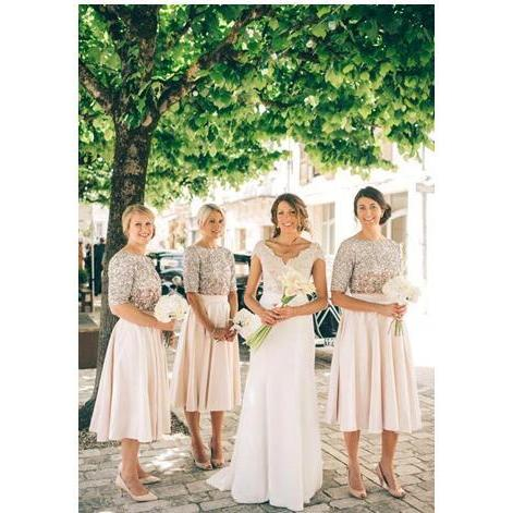New Blush Country Bridesmaid Dresses Short Sleeves Sequins Maid of Honor Dress Vintage Tea Length Prom Party Gowns