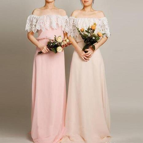 Long Floor Length Bridesmaid Dresses 2018 Off Shoulder Pink Lace Chiffon For Wedding Party Guest Bridesmaids Dress