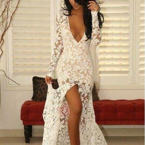 2018 Beach Bohemian Evening Wearing Full Lace Illusion with Front Split Deep V Neck Bridal Gowns Party Dresses