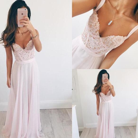 2018 Beach Prom Dresses Spaghetti Sleeveless Lace Appliques Sequins Illusion Zipper Back Floor Length Vestidos Partyl Gowns