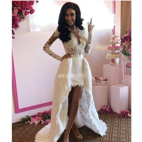 Bohemia Lace Wedding Dresses High Low Open Back 2018 Sheer A-Line Plunging White Boho Beach Long Sleeve Bridal Dress Appliqued Wedding Gowns