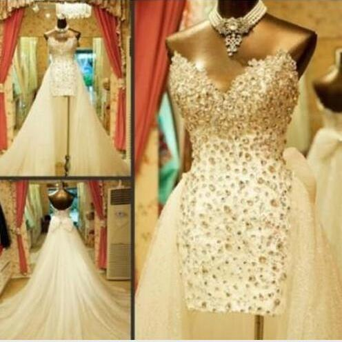 Sparkling Luxury Detachable Train Wedding Dresses Sweetheart Rhinestones Crystals Bow Sequins Tulle Hot Bridal Gowns Custom Made