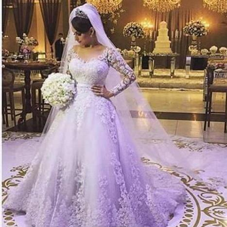 Custom Made A Line Long Sleeve Plus Size Wedding Dresses 2018 Bridal Gown Tulle Lace Appliques Bruidsjurk Zipper-Up Court Train