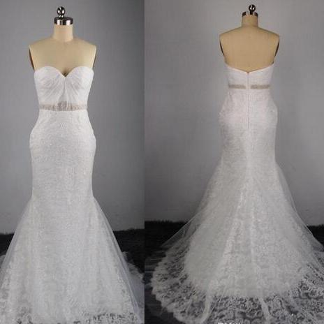 Strapless Sweetheart Lace Beaded Mermaid Wedding Dress with Court Train