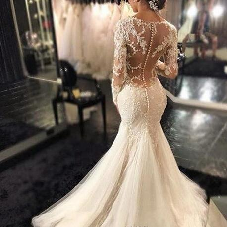 Vintage Mermaid Wedding Dresses Sheer Neck Illusion Long Sleeves Lace Applique Sexy Back Bridal Dresses Court Train Wedding Gowns