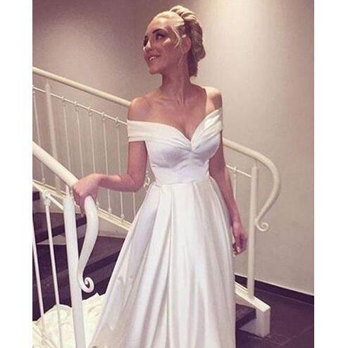 2018 Off the Shoulder Ivory Satin A-Line Wedding Dresses with pleats detail Sweep Train vestido de noiva Bridal Gowns