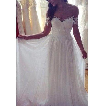 2018 A-Line Chiffon Beach Wedding Dresses Off the Shoulder Lace Appliques Summer Elegant vestido de noiva Bridal Gowns