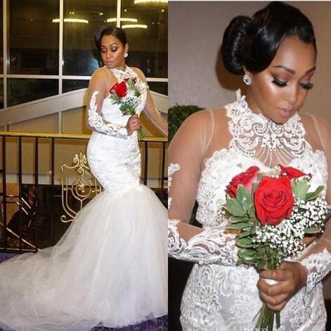 Plus Size Wedding Dresses With Lace Appliques Illusion Long Sleeves Wedding Gowns High Neck Beads Bohemia Bridal Dress African Style