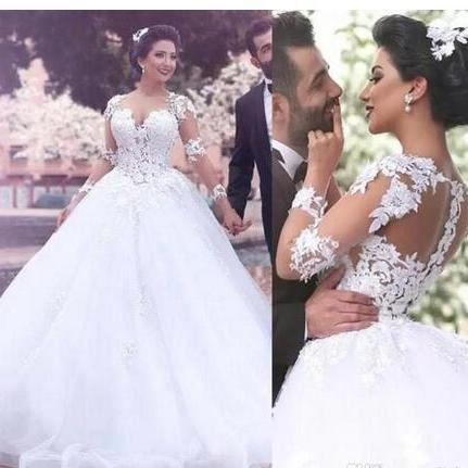 Gorgeous Illusion Long Sleeves Wedding Dresses With Lace Appliques Puffy Tulle Bridal Gowns Sweep Train Sexy Back Sheer Wedding Dress