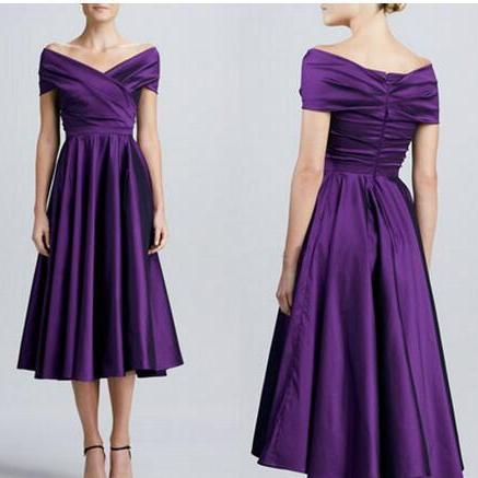 Tea Length Purple Satin Mother off Bride Dresses 2018 Cheap New Ruched Off Shoulder Mother's Formal Evening Gowns Dresses For Wedding