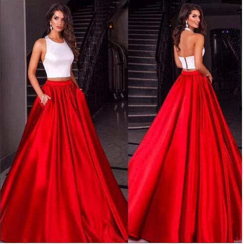 Cheap Modest 2018 Two Pieces White Red Satin Prom Dresses Evening Party Sleeves Party Gown Two Pieces Dresses