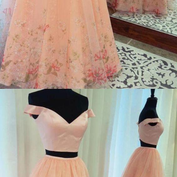 Stunning Two Piece A-Line Off-The-Shoulder Pink Long Prom Dress