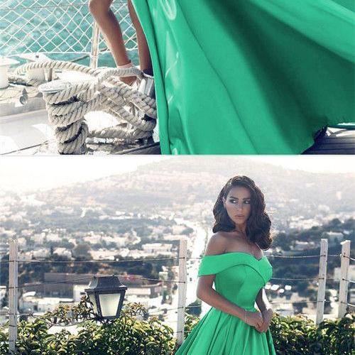 off shoulder evening gowns,forest green dress,green prom dress,slit dress,satin gowns,prom dresses 2018