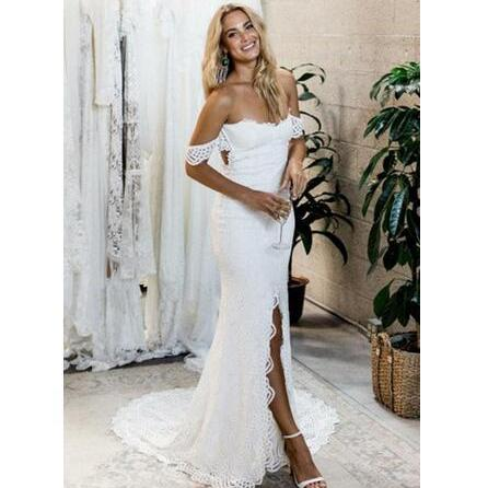 Off-the-Shoulder Lace Mermaid Wedding Dress Featuring Front Slit and Sweep Train