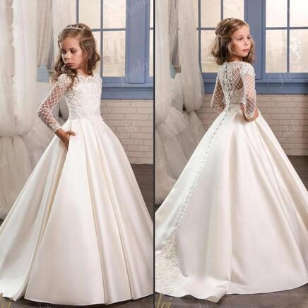 Princess White Lace Flower Girl Dresses 2018 New Sheer Long Sleeves First Communion Birthday Party Dresses Girls Pageant Dress For Weddings