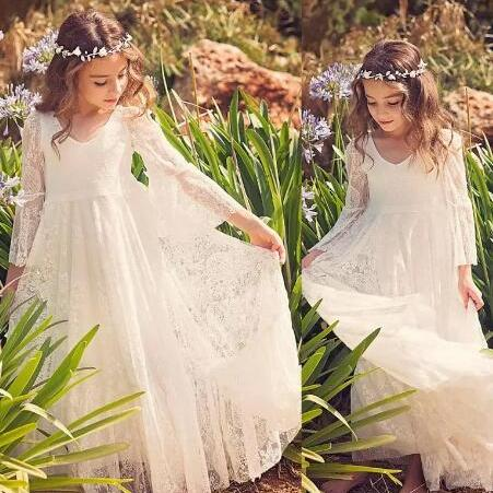 New Beach Flower Girl Dresses White Ivory Boho First Communion Dress For Little Girl V-Neck Long Sleeve A-Line Cheap Kids Wedding Dress