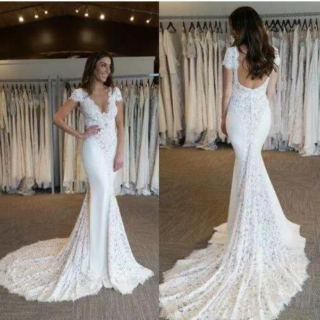 V-Neck Lace Mermaid Wedding Dress with Cap Sleeves and Court Train