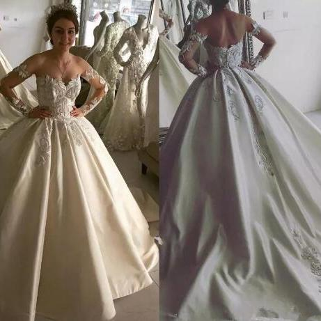 New Design Ball Gown Lace Wedding Dresses Satin Off Shoulder Sheer Neck Backless Court Train Applique Bridal Gowns Wedding Dress