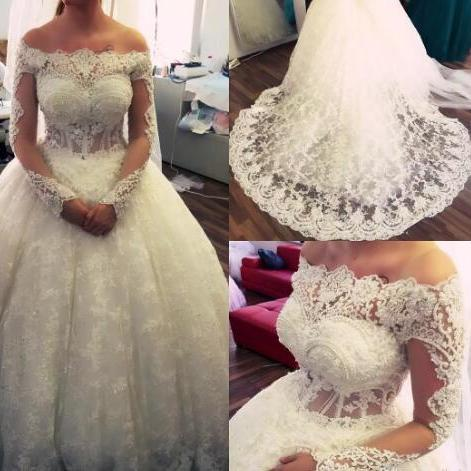 2018 Off Shoulder Long Sleeve Ball Gown Wedding Dresses Bridal Dresses Beaded Crystals Vestidos De Noiva Wedding Gowns Robe De Mariage