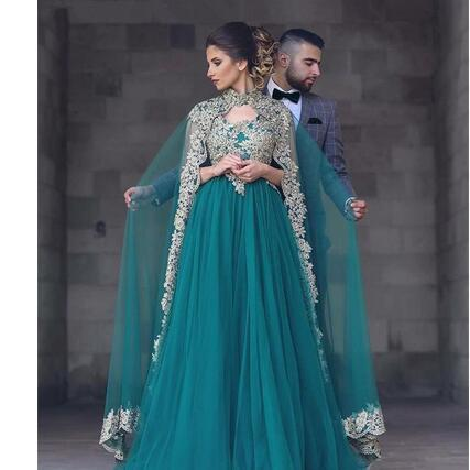 Abayas Kaftan Muslim Caped Long Evening Gowns 2018 A Line High Neck Gold Lace Appliques Hunter Green Plus Size Beaded Turkish Prom Gowns