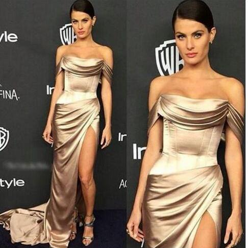 Satin Gown w Deep Side Slit 2018 Sexy Dresses Party Evening Off-shoulder Dubai Arabic Occasion Dresses