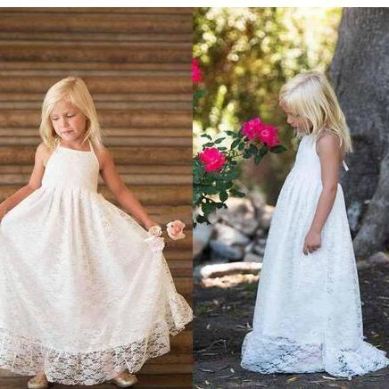 Full Lace 2018 Beach Flower Girls Dresses For Birthday Halter Neck Floor Length A Line Party Gowns First Communion Dresses