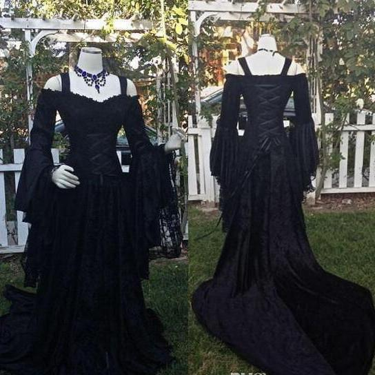 intage Black Gothic Wedding Dresses A Line Medieval Off the Shoulder Straps Long Sleeves Corset Bridal Gowns with Court Train Custom Made